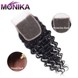Image 3 - Monika saç brezilyalı kapatma derin dalga İnsan saç kapatma İsviçre dantel 4x4 kapatma saç olmayan Remy ücretsiz/Orta/üç bölüm kapanışları