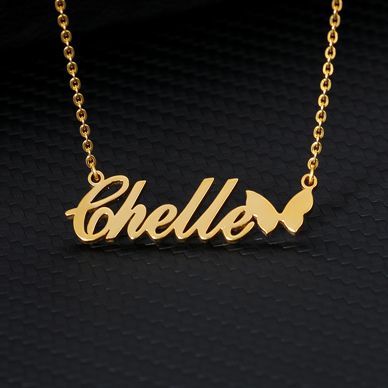 Personalized Name Necklace With Butterfly Silver Gold Chain Stainless Steel Custom Name Necklace Women Jewelry Bridesmaid Gift