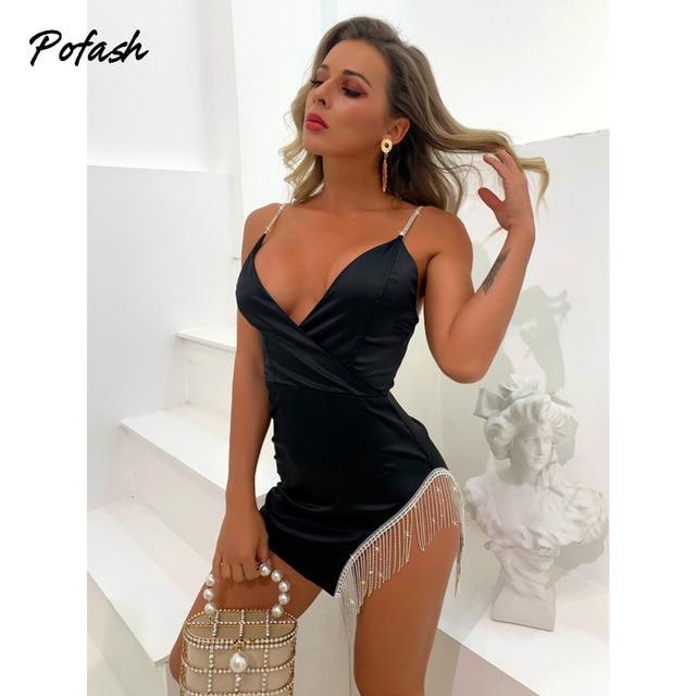 Pofash Black V Neck Mini Dress Women Backless Sexy Backless Diamond Tassel Party Club Dress Spaghetti Strap Bodycon Dresses 2021 4