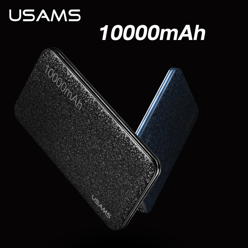 USAMS – batterie externe Portable 10000mAh, charge rapide, USB, pour Xiaomi Mi 9 8 iPhone Huawei Samsung
