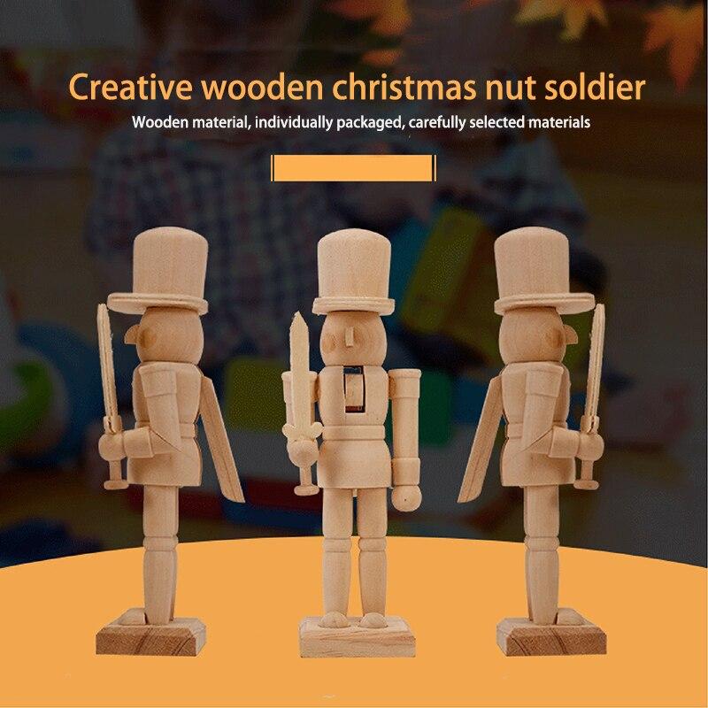 Creative Handmade Wooden Robot Diy Graffiti Toy Wooden Christmas Walnut Soldier Children's Toy