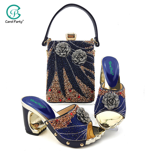 2020 Elegant Women Shoes and Bag to Match in Royal blue Color Italian design Lady Shoes and Bag  with Rhinestone for Wedding