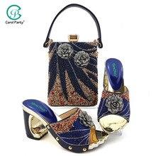 2020 אלגנטי נשים נעליים ותיק כדי להתאים ברויאל כחול צבע איטלקי עיצוב ליידי נעלי ותיק עם ריינסטון עבור חתונה
