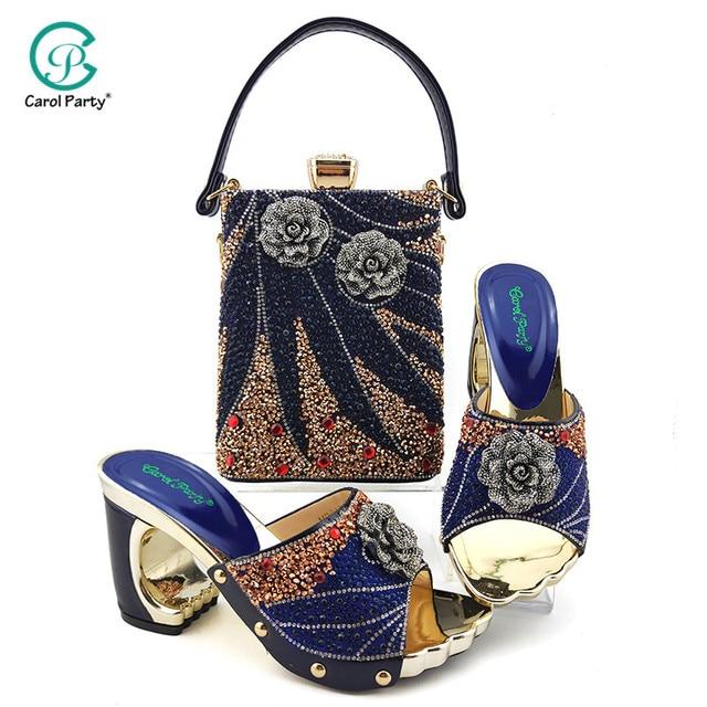 2020 элегантные женские туфли и подходящая к ним Сумочка небесно голубого цвета Цвет итальянские дамские туфли лодочки с молнией дизайнерские туфли и сумка в комплекте, украшенные большим Стразы для свадьбы