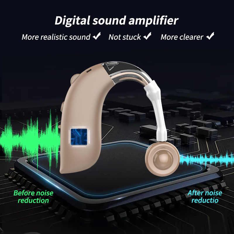 Mini Isi Ulang Alat Bantu Dengar Digital BTE Alat Bantu Dengar Adjustable Nada Suara Amplifier Portable Tuli Tua Digital Hearing Aid