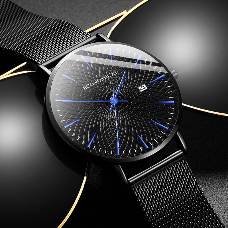 Minimalist Mens Fashion Business Watches Men Ultra Thin Stainless Steel Mesh Belt Calendar Analog Quartz Watch Relogio Masculino