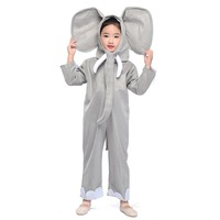 Kids Little Grey Elephant Costume Boys Girls Zoo Park Animal Mascot Fancy Dress Elephant Jumpsuit Child Halloween Costumes