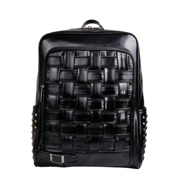 Simple Fashion Zipper Backpack Atmosphere Weaving Rivets Black Backpack Personality Unisex PU Leather Travel Bag Student Bag