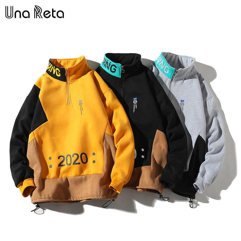 Una Reta Men Sweatshirt New Hip Hop Color Block Patchwork Fleece Sweatshirts Mens Harajuku Pullover tops Casual Streetwear