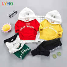 Kids Clothes Sets for Boys Hoodie Spring 2021 Baby Girl Boutique Clothing Toddler Outfit Winter Sweatshirt 2 Year 12 Month LYHO cheap Fashion CN(Origin) Hooded Pullover Cotton Unisex Full Regular Fits true to size take your normal size Patchwork Letters