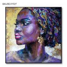 Professional Artist Hand-painted High Quality America African Woman Oil Painting on Canvas Figure