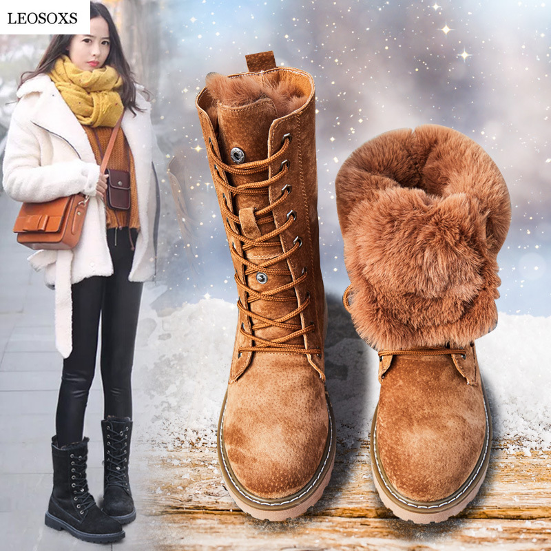 LEOSOXS Wedge Shoes Genuine Leather Snow Boots Woman Winter Boots Winter Warm Women's Shoes Mid Calf Ladies Platform Booties 41