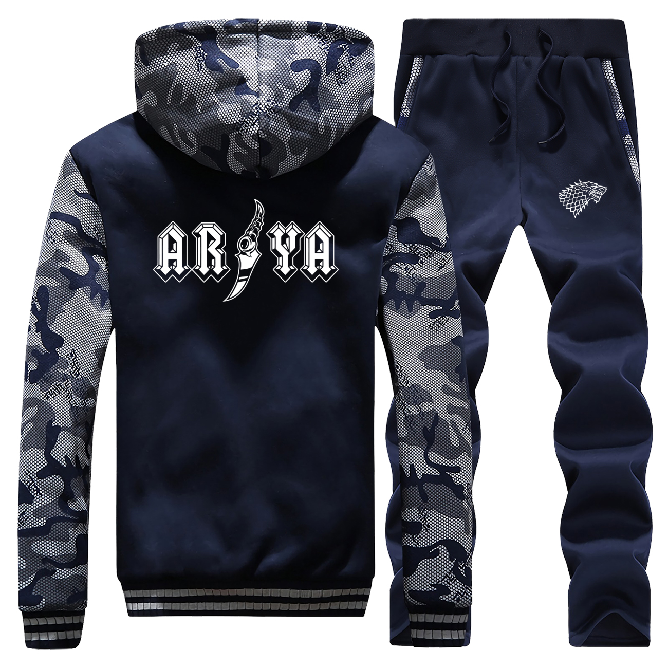 Winter Mens 2 Piece Set ARYA Game Of Thrones Male Coat Zip Thick Warm Hooded Sweatshirt+Trousers Sports Pants Men's Clothes Tops