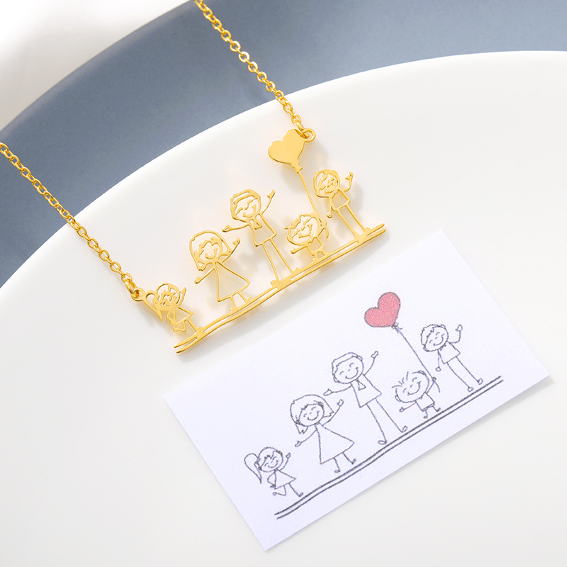 Custom Kids Drawing Necklace Personalized Children Artwork Necklace Stainless Steel Gold Sliver Chain for Mom Grandma Gift