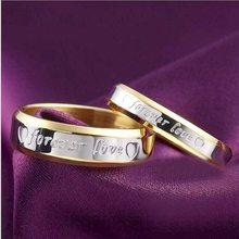 Unissex masculino feminino moda casal anel de aço para sempre amor