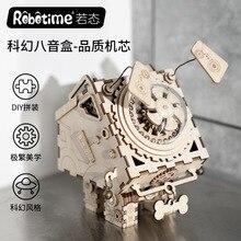 Crafts Rhyme DIY Creative Gifts 3D Wooden Music Box Mechanical Music Box Robot Home Pendulum свитшот print bar music robot