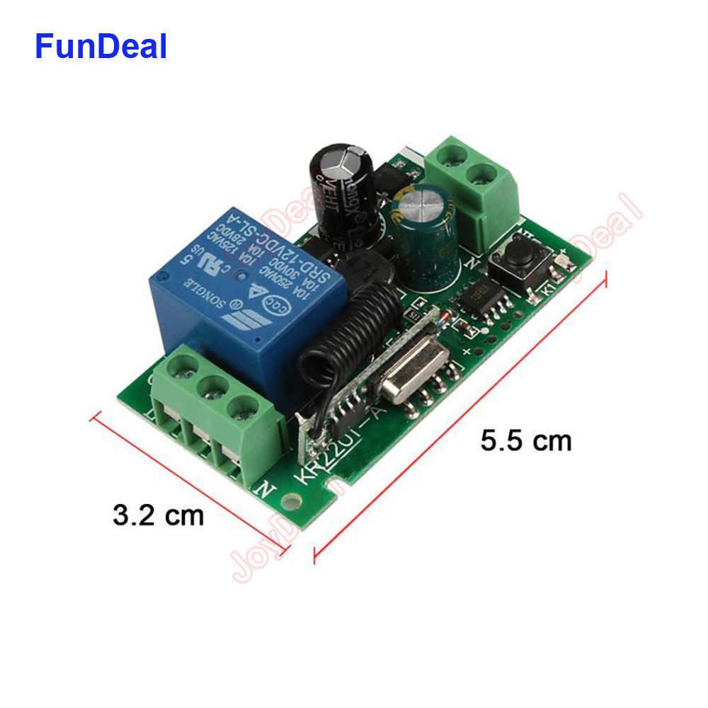 FunDeal 433 433mhz のユニバーサルワイヤレス RF リモートコントロールスイッチ AC 110V 220V 1CH ガレージ夜の光受信機 & 433 433mhz のリモートコントロール