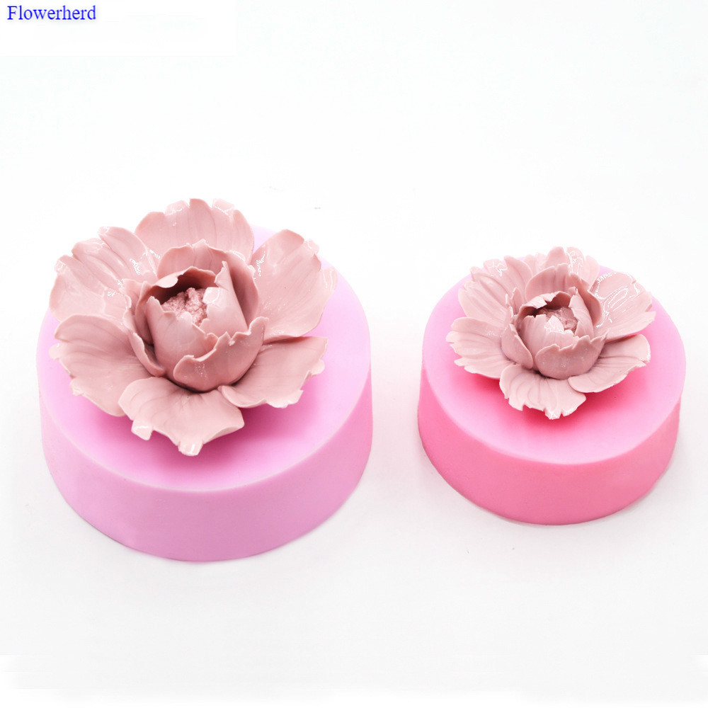 Large-Size Peony Flower 3D Silicone Soap Mold Plamt Handmade Fragrance Soap Fondant Cake Decorating Tools Silicone Mold