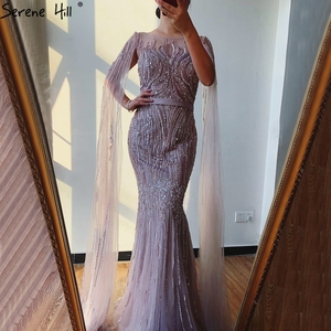 Image 1 - Dubai Pink Luxury Long Sleeves Evening Gowns 2020 Mermaid Sequins Beading Sexy Fromal Dresses Serene Hill LA70160