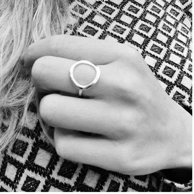 ที่ดีที่สุดขายสุภาพสตรีแฟชั่น Pop แหวนสแตนเลส Retro เรขาคณิตสีชมพูแหวนคอมโพสิตรอบ Midi แหวนเครื่องประดับ