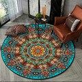 Цветной круглый ковер в богемном стиле  мандала  Голубое озеро  этнический цветочный ковер  большие коврики для стульев  прикроватные коври...