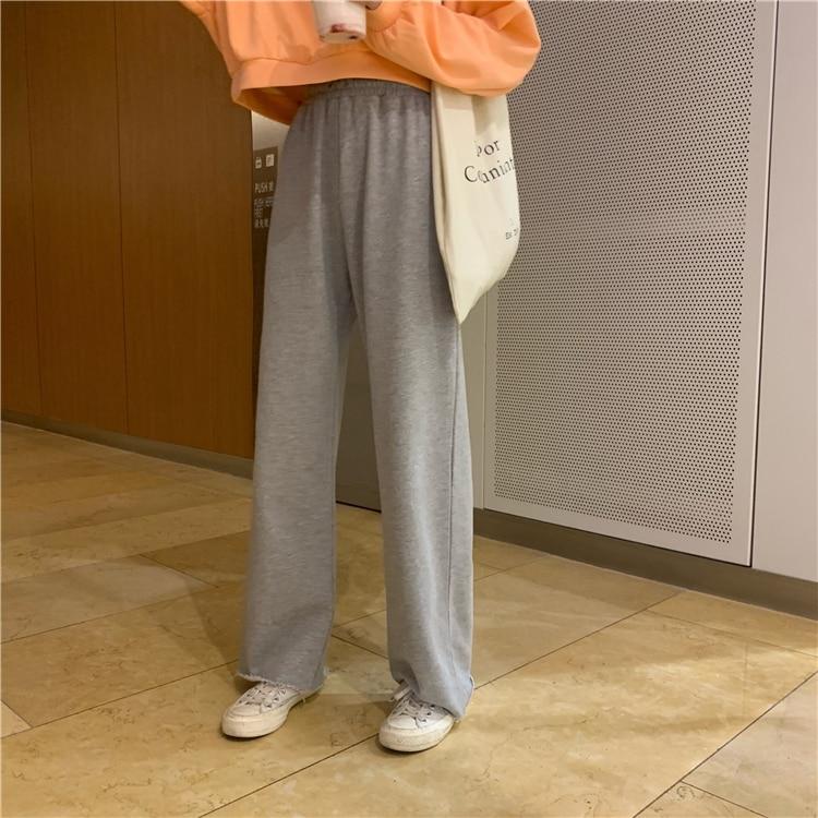 Hafd8e444dd2e420fa0a79c05a5c3f0d0i - Autumn / Winter High Waist Elastic Broadcloth Straight Solid Pants