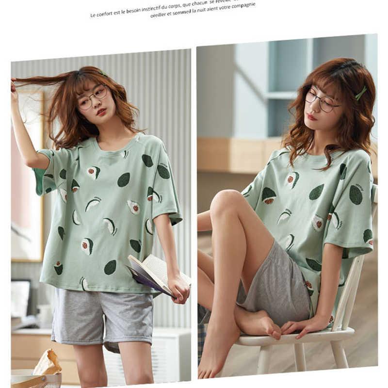 Frauen Pyjamas mit Avocado Nachtwäsche frauen Baumwolle Pijamas Frauen Pyjamas Frauen Schlafanzug Home Kleidung für Frauen