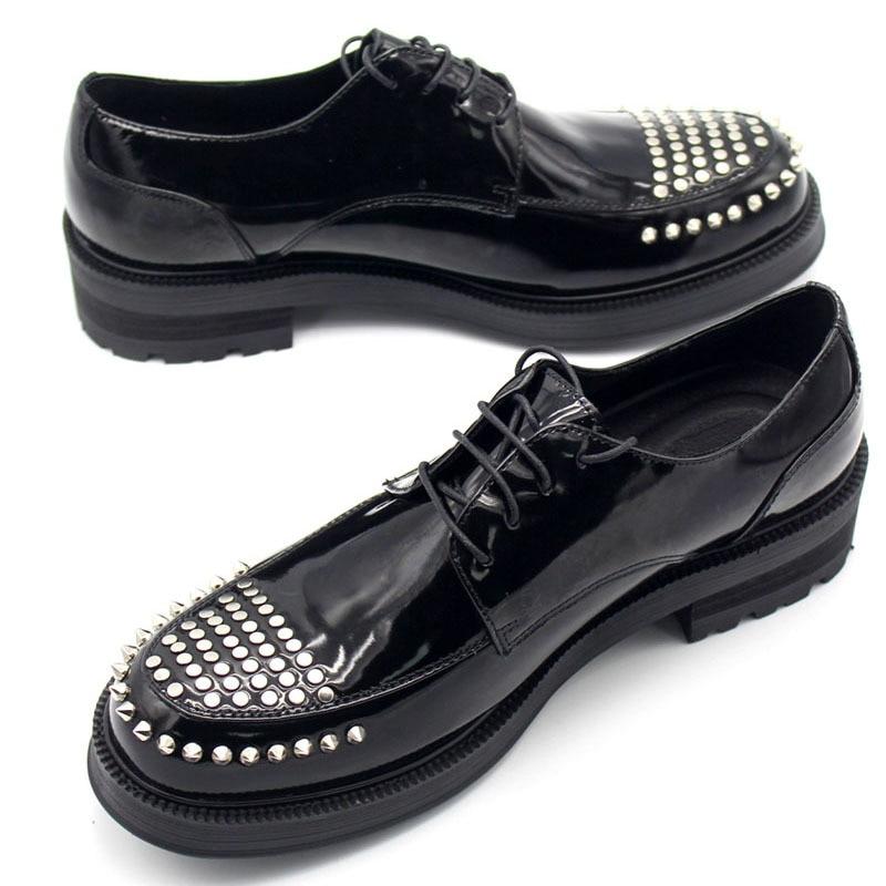 Spring Autumn Black Genuine Leather Men Shoes Thick Platform Breathable Rivet Mens Footwear High Quality Luxury Design Man Shoe