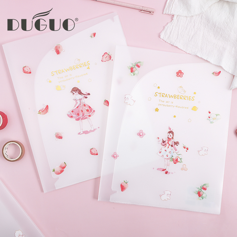 DUGUO Cute Stationery Japanese Small Fresh PP Storage Clip Learning Office Multi-layer Insert Bag Transparent Storage Book