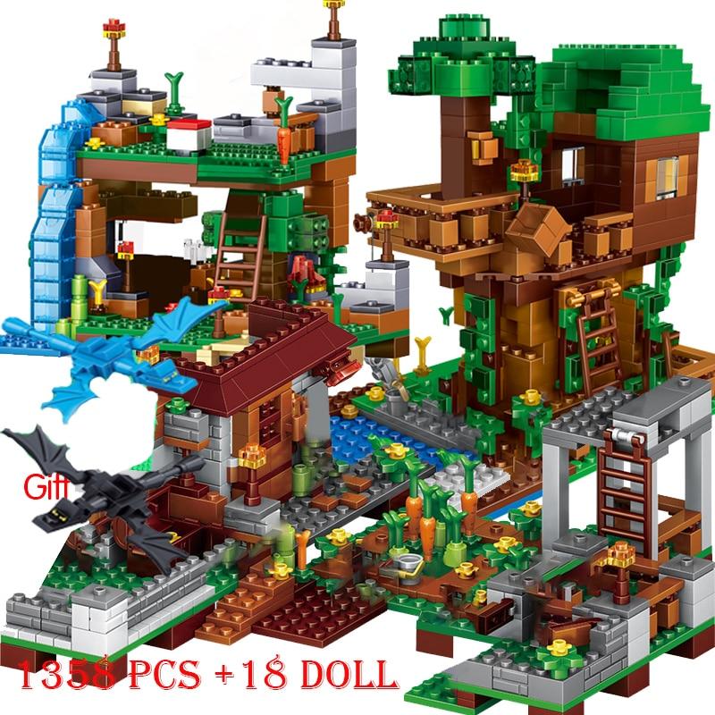 17 Style Mine Farm Mountain Cave Waterfall Village Jungle TreeHouse Figures My World Bricks Set Model Building Blocks Toys Gifts