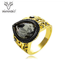 Viennois Mix Color colourful Rhinestone Women Size Ring Gold & Gun Color Cocktail Party Ring(China)