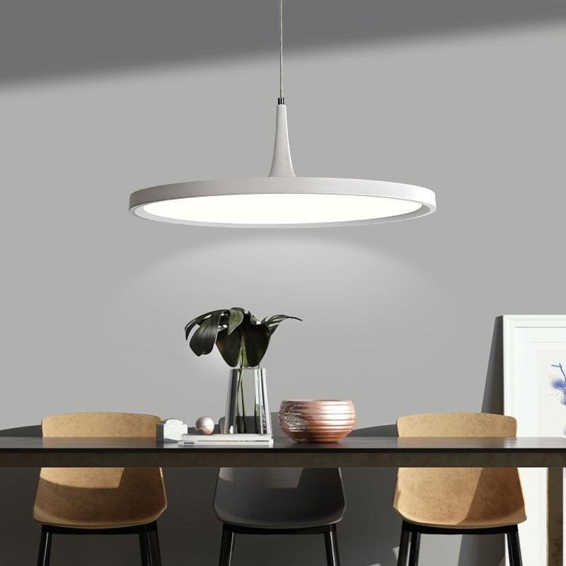 Ins LED Design Acrylic Black iron modern minimalist Round Shape Hanging Lamps Kitchen Restaurant Dining room Decor Pendant light