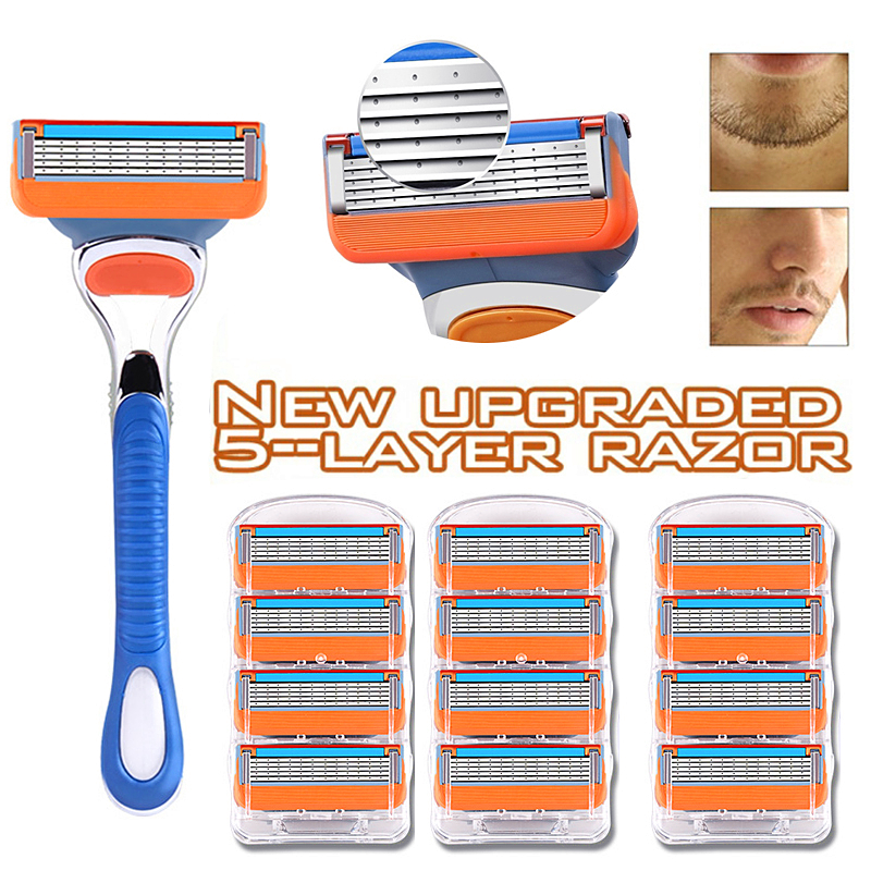 New Upgraded High Quality 5-layer Razor Frame Combination Men's Razor Blade 4/8/12pcs Shaver Holder Razor Holder For Men Fashion