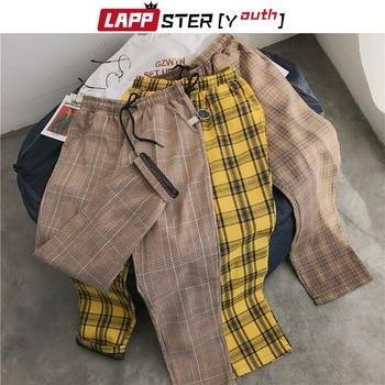 LAPPSTER-Youth Streetwear Black Plaid Pants Men Joggers 2020 Mens Straight Harem Pants Men Korean Hip Hop Trousers Plus Size 1