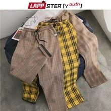 LAPPSTER-Juventud Streetwear a cuadros negro pantalones hombres Camisetas De 2020 hombres directamente los hombres de pantalones Harem coreano pantalones de Hip Hop de talla grande