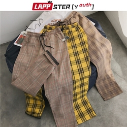 LAPPSTER-Youth Streetwear Black Plaid Pants Men Joggers 2020 Mens Straight Harem Pants Men Korean Hip Hop Trousers Plus Size