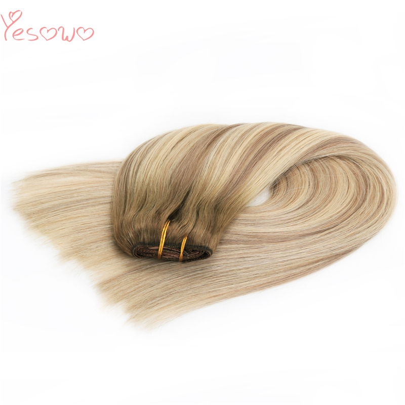 Yesowo 12-26Inch SB# 100g 120g Indian Remy Virgin Clip In Human Hair Extensions Ombre Cuticle Aligned Raw Hair