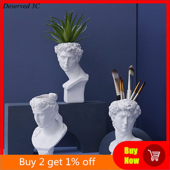 Resin Vase Flower Pot Nordic Style Human Head Pen Brushes Holder Home Decoration R9CB 1