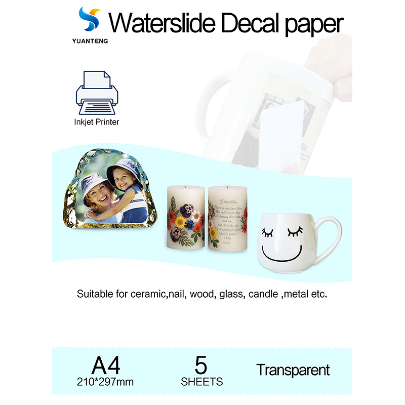 (5sheets/lot) A4 Size Inkjet Water Slide Decal Paper Transparent/Clear Color Waterslide Decal Paper Need Spray Sample For Test