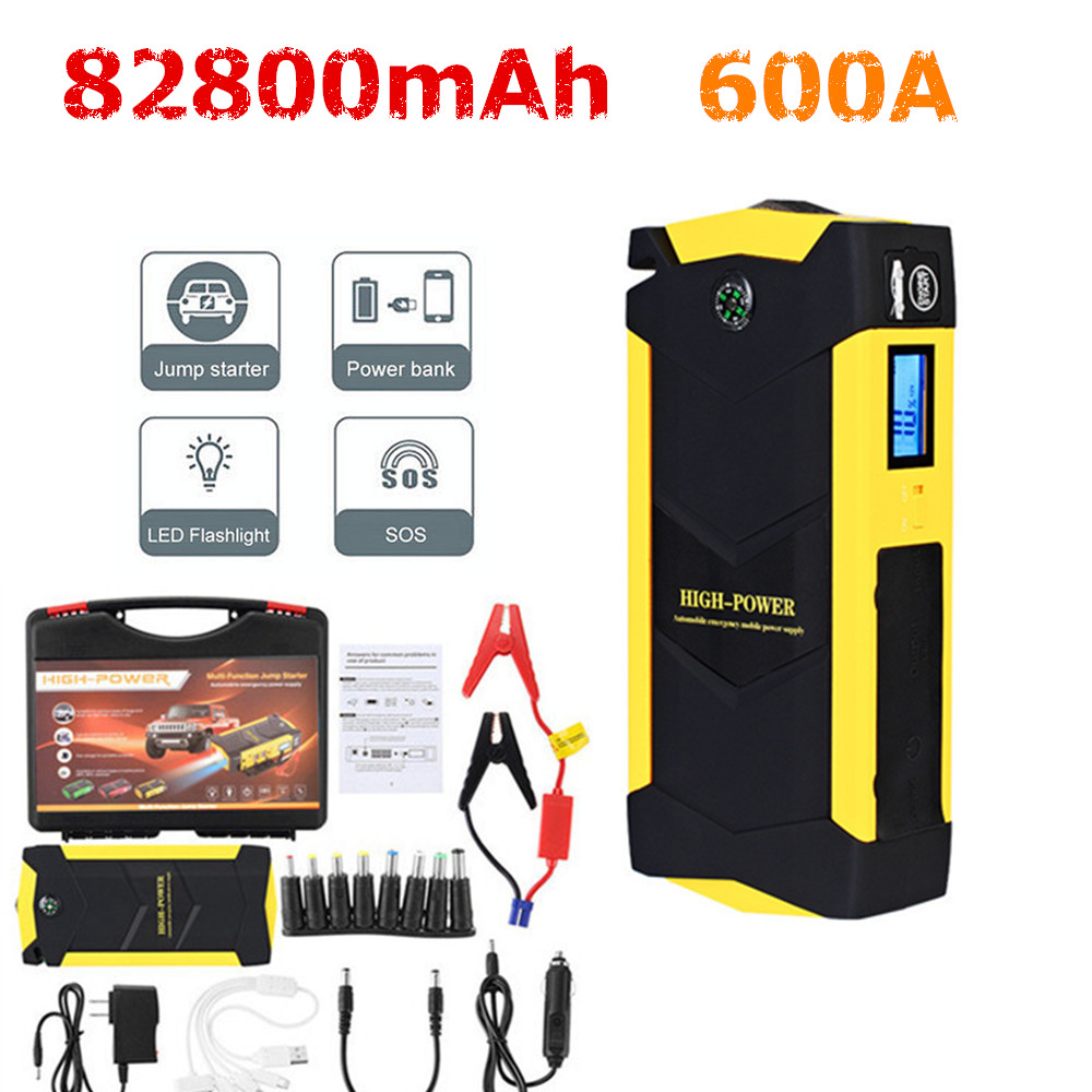 Audew 82800mAh 4USB 12V Car Jump Starter 600A Multifunction Emergency Charger Battery Power Bank Kit Auto Jump Starter Booster