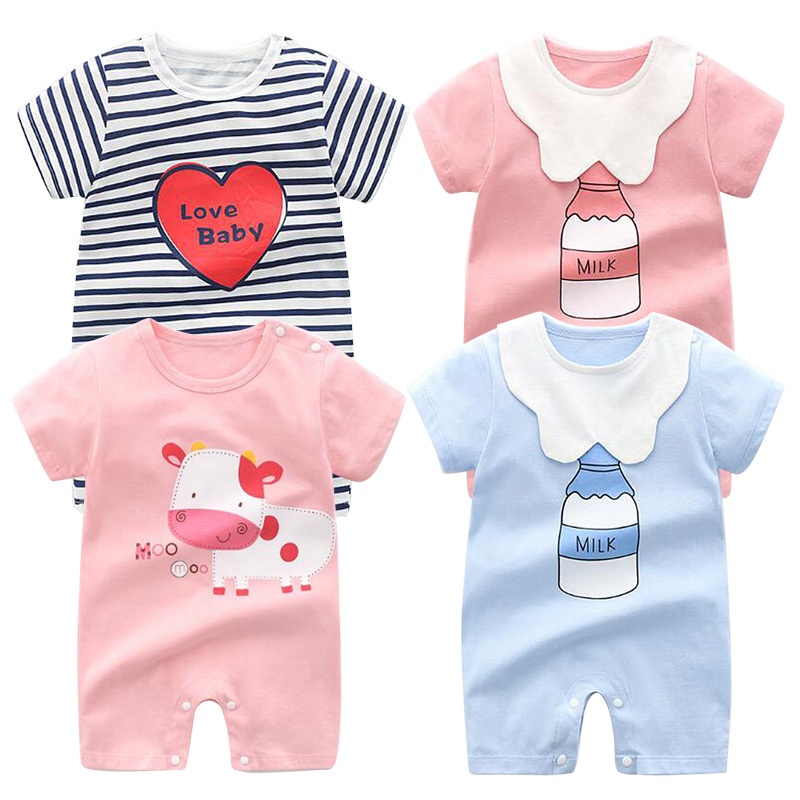 SMDPPWDBB Baby Boys Clothes Girls Clothing Bodysuits Short Sleeve Baby Rompers Clothes 0-24M Newborn Cotton Roupas De Bebe