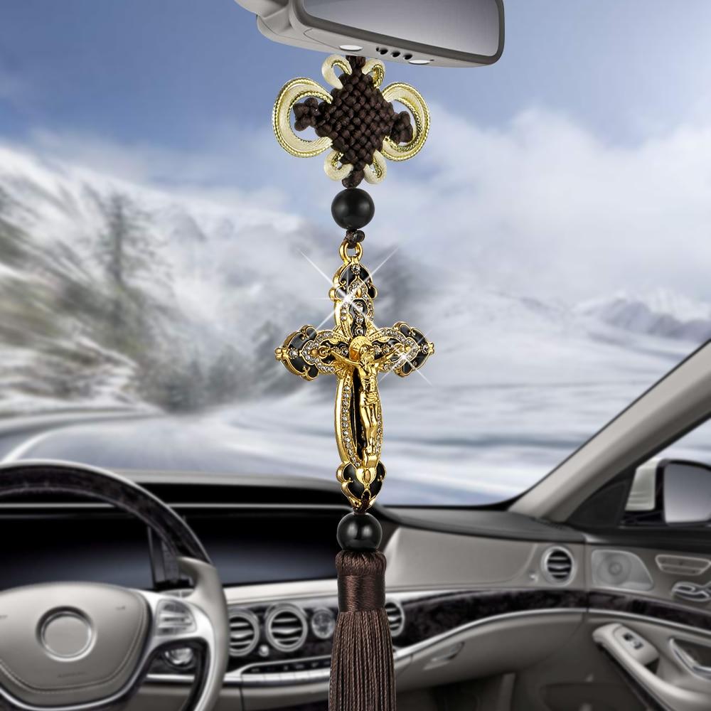 İsa heykelcik çapraz araba kolye oto dekorasyon asılı otomobil dikiz aynası hıristiyan süspansiyon dekor aksesuarları