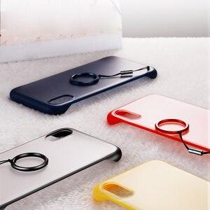 Image 4 - ללא מסגרת מקרה עבור iPhone 7 מקרה שקוף מט קשיח טלפון כיסוי עבור iPhone XR XS מקסימום X 7 6 6s 8 בתוספת עם אצבע טבעת מקרה