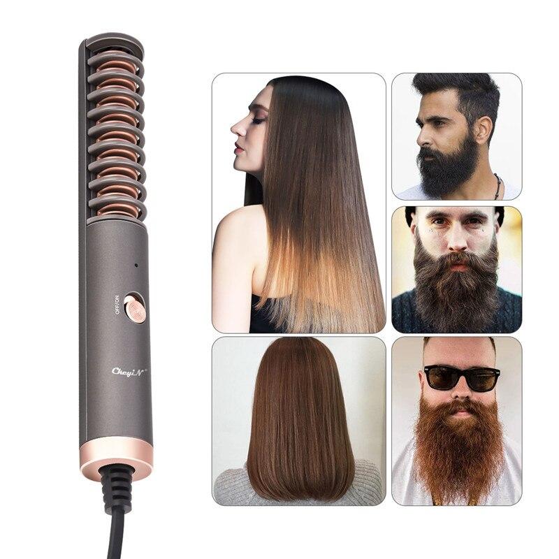 Escova de alisador de barba elétrica, barba multifuncional e cabelo alisamento escova de calor pente, melhor heat beard straightener 50