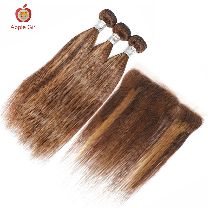 Highlight 3 Bundles With Closure    Bundles With Frontal Colored Applegirl Straight  Hair 4PCS/LOT 2