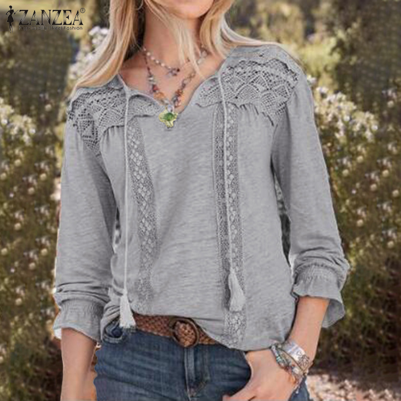 Women Casual Long Sleeve Vintage Lace Party Shirts