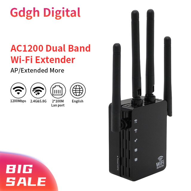 2.4G/5.8G Wifi Amplifier Wifi Repeater 1200Mbps Wifi Router Long Range Extender Home Wifi Signal Booster With 1*100M Lan Port 1