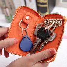 New Genuine Leather Key Wallet Men Women Key Holder Organizer Pouch Litchi Pattern Car Key Case Pouch Housekeeper Mini Card Bag