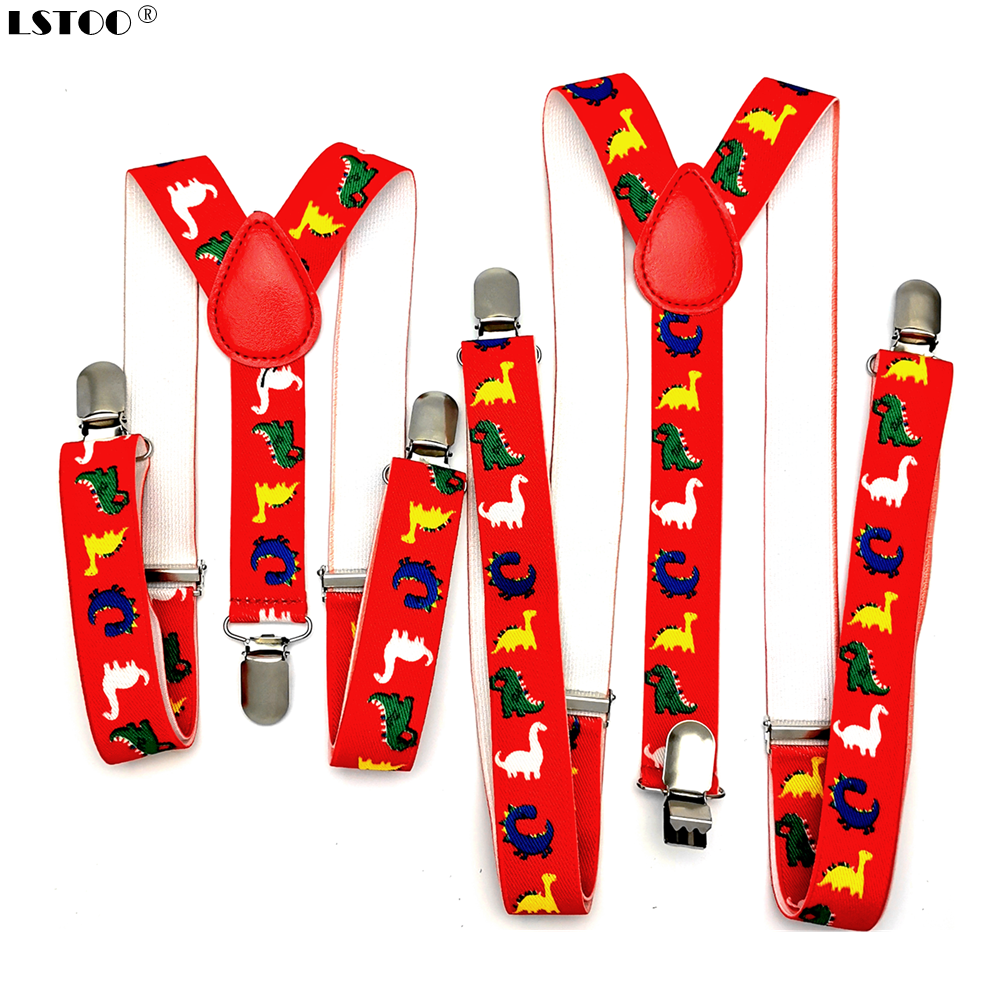 Baby Adult 2.5cm Wide 3 Clips On Adjustable Red Dinosaurs Animal Print Suspenders Braces For Boys Girls Men Women