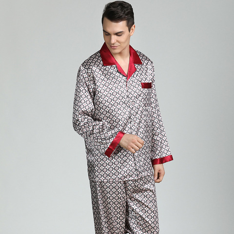 Pijamas de Seda para Homem Topos + Calças Pijamas dos Homens Dormirwear V-collar Cozy Macio Manga Longa Camisola Dois Conjunto Pijama